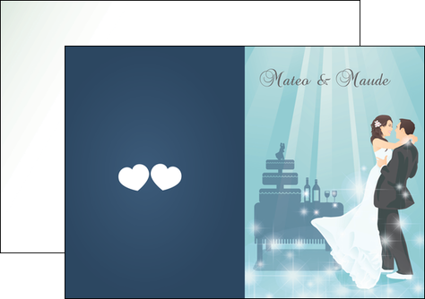 personnaliser maquette depliant 2 volets  4 pages  mariage marier marie MIS16652