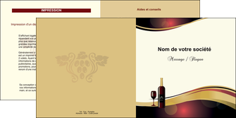faire depliant 2 volets  4 pages  vin commerce et producteur vin vignoble bouteille de vin MLIG24284
