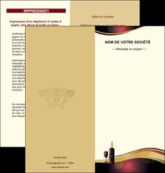 creation graphique en ligne depliant 2 volets  4 pages  vin commerce et producteur vin vignoble bouteille de vin MLIG24300