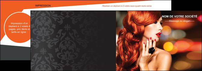imprimerie depliant 2 volets  4 pages  centre esthetique  coiffure coiffeur coiffeuse MLGI25514
