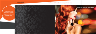 imprimerie depliant 2 volets  4 pages  centre esthetique  coiffure coiffeur coiffeuse MLIG25514