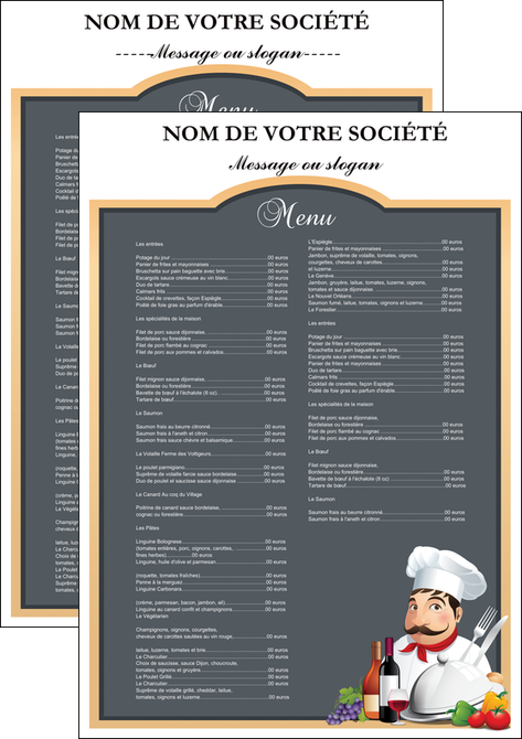 cree flyers metiers de la cuisine menu restaurant restaurant francais MLGI26406