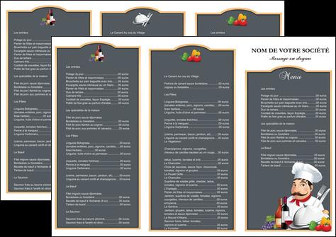 Connu Dépliant 3 volets (6 pages) modèle et exemple menu, restaurant  TG09