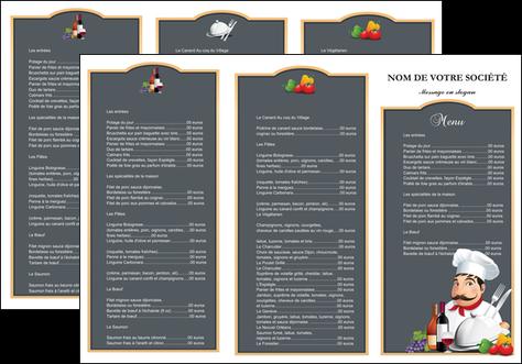 personnaliser modele de depliant 3 volets  6 pages  metiers de la cuisine menu restaurant restaurant francais MLGI26410