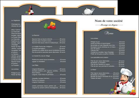 Connu Dépliant 2 volets (4 pages) modèle et exemple menu, restaurant  TG09