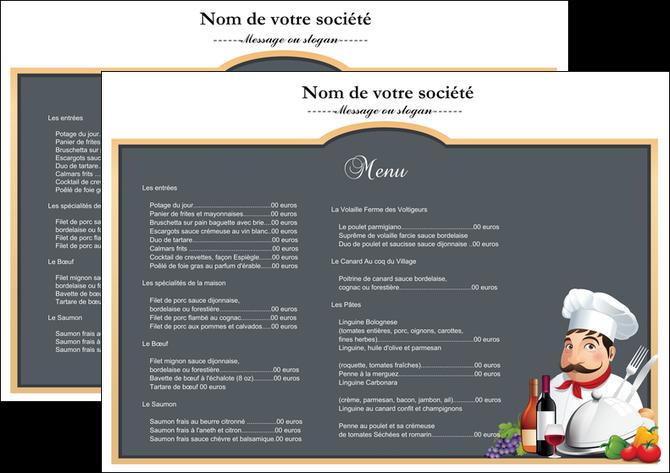 creation graphique en ligne set de table metiers de la cuisine menu restaurant restaurant francais MLGI26426