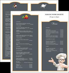 impression depliant 2 volets  4 pages  metiers de la cuisine menu restaurant restaurant francais MLGI26616