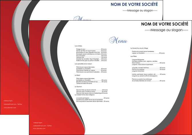 Set de table mod le et exemple set de table menu set de table menu - Set de table pour restaurant ...
