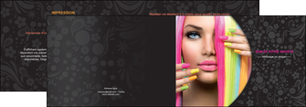 exemple depliant 2 volets  4 pages  cosmetique coiffure coiffeur coiffeuse MIF28474