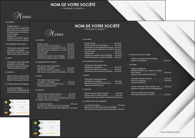 Très Exemple menu restaurant - Impression & Imprimerie en ligne YK02