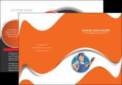 creer modele en ligne depliant 2 volets  4 pages  plomberie travail travailleur casquette MLGI29502