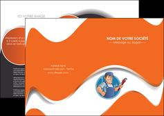 personnaliser modele de depliant 2 volets  4 pages  plomberie travail travailleur casquette MLGI29504