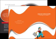 creer modele en ligne depliant 2 volets  4 pages  plomberie travail travailleur casquette MIS29572