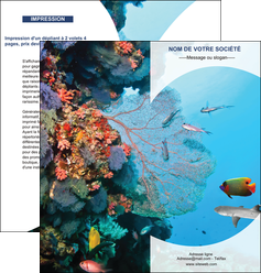 modele en ligne depliant 2 volets  4 pages  chasse et peche plongeur corail poissons MIS33852