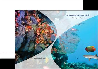 imprimer pochette a rabat chasse et peche plongeur corail poissons MIS33860