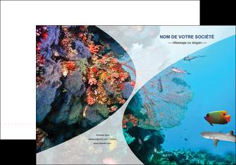 creation graphique en ligne pochette a rabat chasse et peche plongeur corail poissons MLIG33862
