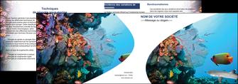 modele en ligne depliant 2 volets  4 pages  chasse et peche plongeur corail poissons MIS33864