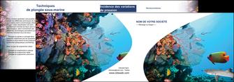faire modele a imprimer depliant 2 volets  4 pages  chasse et peche plongeur corail poissons MIS33866