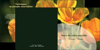 maquette en ligne a personnaliser depliant 2 volets  4 pages  agriculture fleurs bouquetier horticulteur MLIP34146