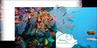 maquette en ligne a personnaliser depliant 2 volets  4 pages  chasse et peche plongeur corail poissons MLIG34428
