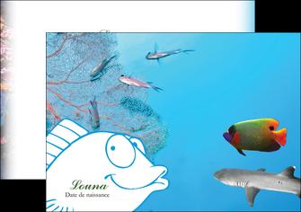 modele en ligne flyers chasse et peche plongeur corail poissons MIS34430