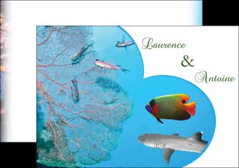 imprimerie flyers chasse et peche plongeur corail poissons MIS34442
