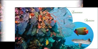 faire depliant 2 volets  4 pages  chasse et peche plongeur corail poissons MIS34444