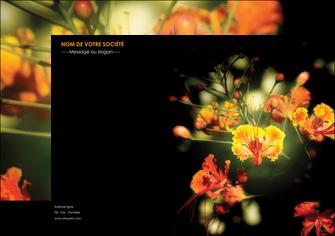 modele affiche fleuriste et jardinage fleur luxe noire MLIG34792