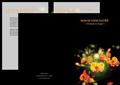 modele en ligne depliant 2 volets  4 pages  fleuriste et jardinage fleur luxe noire MIF34804