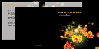 faire modele a imprimer depliant 2 volets  4 pages  fleuriste et jardinage fleur luxe noire MLIG34814