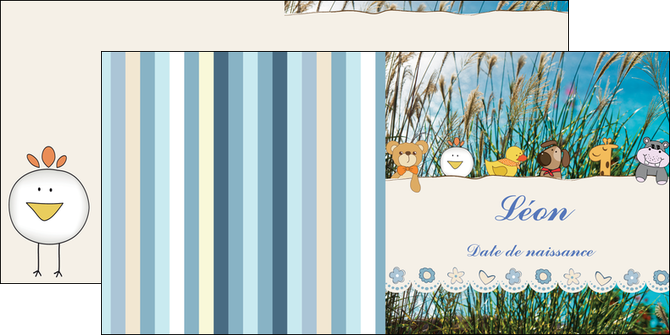 personnaliser modele de depliant 2 volets  4 pages  faire part de naissance carte de naissance carton invitation naissance MLIG34826