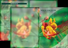 modele en ligne depliant 2 volets  4 pages  fleuriste et jardinage nature colore couleurs MLGI34922