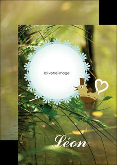 personnaliser modele de flyers faire part de naissance vert nature MLIG35342