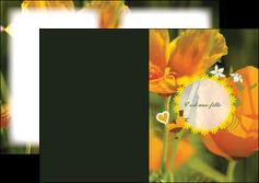 maquette en ligne a personnaliser depliant 2 volets  4 pages  fleurs faire part de naissance jaune MLIG36010