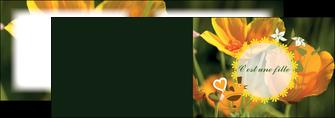 creation graphique en ligne depliant 2 volets  4 pages  fleurs faire part de naissance jaune MLIG36012