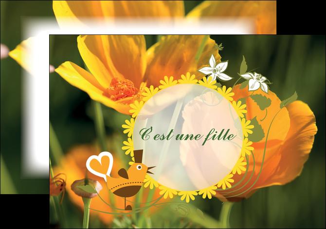 cree flyers fleurs faire part de naissance jaune MLIG36014