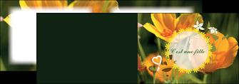 impression depliant 2 volets  4 pages  fleurs faire part de naissance jaune MLIG36016