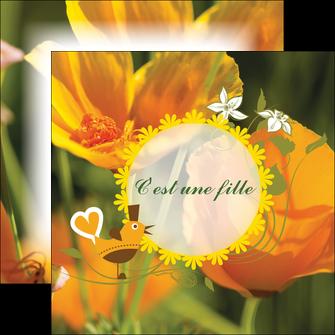 creer modele en ligne flyers fleurs faire part de naissance jaune MLIG36018