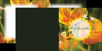 exemple depliant 2 volets  4 pages  fleurs faire part de naissance jaune MLIG36020