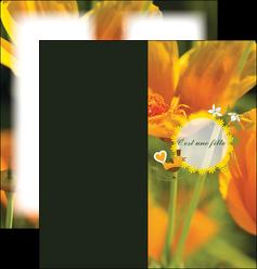 modele en ligne depliant 2 volets  4 pages  fleurs faire part de naissance jaune MLIG36022