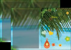 cree depliant 2 volets  4 pages  mer plage ciel bleu MLGI36046