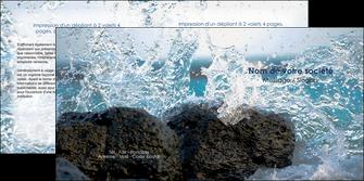 personnaliser modele de depliant 2 volets  4 pages  mer rocher nature MLIG36208