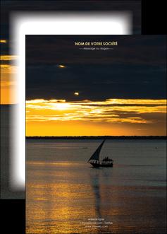 personnaliser modele de affiche sejours pirogue couche de soleil mer MLGI36908