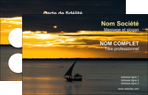 imprimer carte de visite bar et cafe et pub pirogue couche de soleil mer MLGI36923