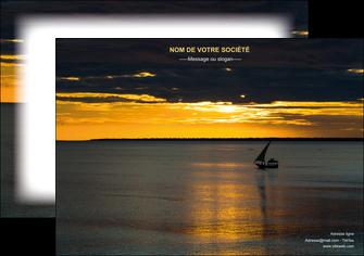 personnaliser maquette affiche sejours pirogue couche de soleil mer MLGI36938