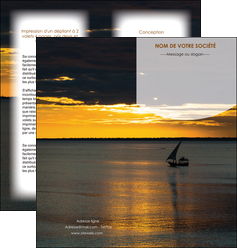 modele depliant 2 volets  4 pages  sejours paysage mer pirogue MLGI37162