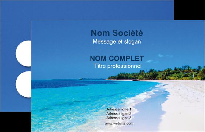 Personnaliser Maquette Carte De Visite Sejours Plage Mer Sable Blanc MLGI37586