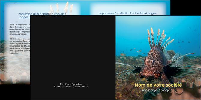 modele en ligne depliant 2 volets  4 pages  animal poissons animal bleu MLGI39568