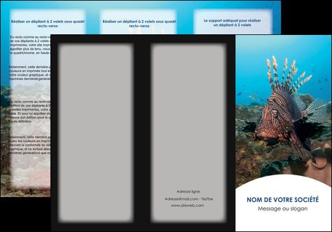 realiser depliant 3 volets  6 pages  animal poissons animal bleu MLGI39572