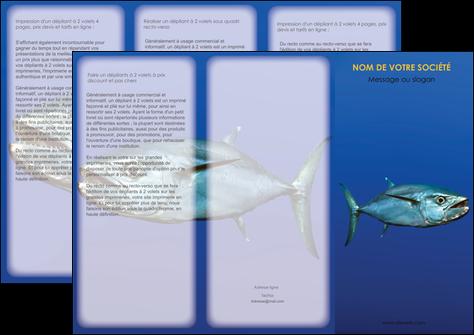 d pliant 3 volets 6 pages mod le et exemple poissons animal bleu. Black Bedroom Furniture Sets. Home Design Ideas